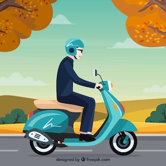 Concetto di scooter elettrico con vista laterale dell'uomo