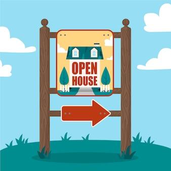 Concetto di segno di casa aperta