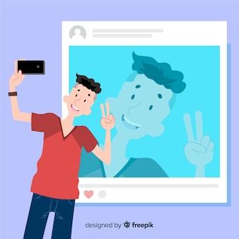 Concetto di selfie con l'illustrazione del ragazzo