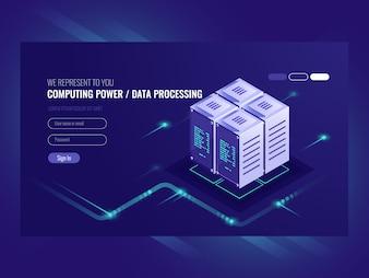 Concetto di server blockchain, computer quantistico, sala server, database