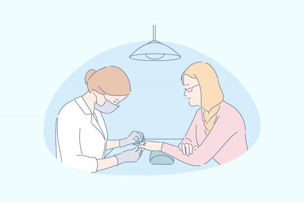 Concetto di servizi del centro della stazione termale del manicure del salone di bellezza