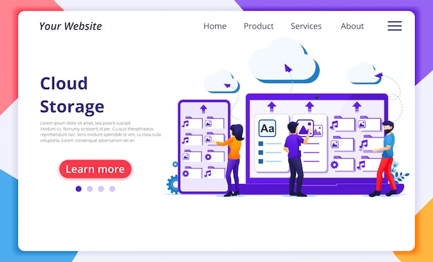 Concetto di servizi di cloud computing, persone lavorano su dispositivi giganti, cloud storage, data center. modello di pagina di destinazione del sito web