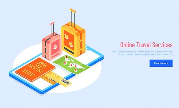 Concetto di servizi di viaggio online.
