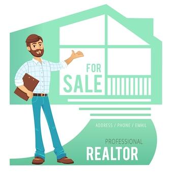 Concetto di servizi immobiliari. agente che mostra una casa.