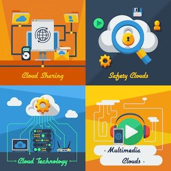 Concetto di servizio cloud 2x2