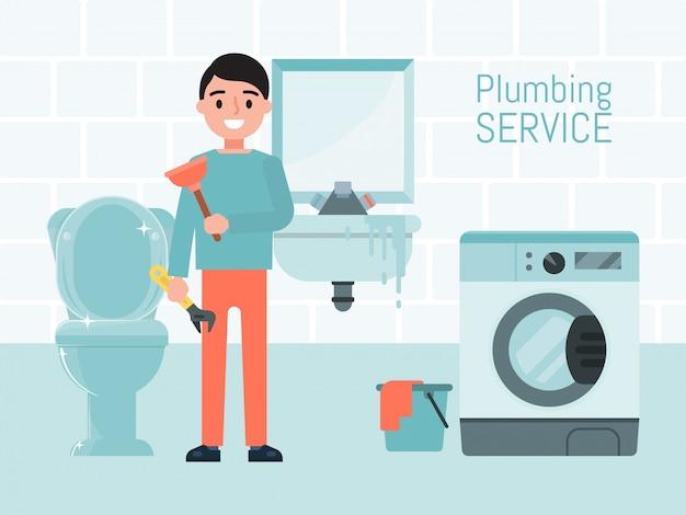 Concetto di servizio dell'impianto idraulico, illustrazione dell'operaio maschio del carattere. riparazione lavatrice, wc e lavandino. sistema di approvvigionamento idrico di manutenzione.