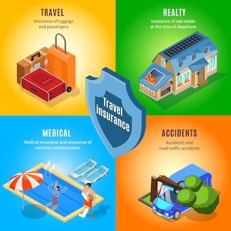 Concetto di servizio di assicurazione di viaggio isometrica