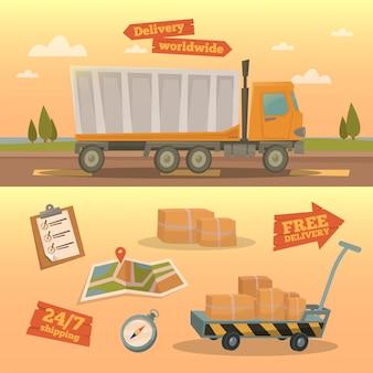 Concetto di servizio di consegna. camion di consegna in tutto il mondo con diversi elementi