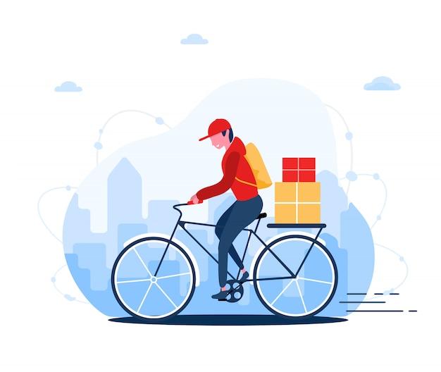 Concetto di servizio di consegna online a casa e in ufficio. corriere veloce in bici. spedizione ristorante cibo, posta e pacchi. illustrazione moderna in stile cartone animato piatto.