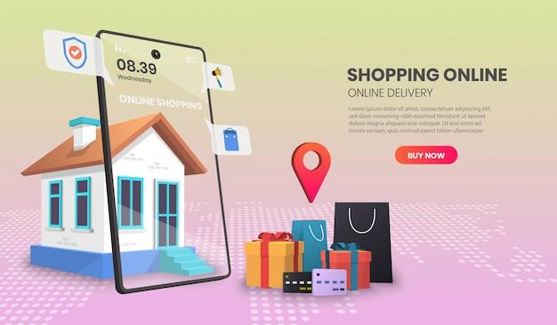 Concetto di servizio di consegna online, monitoraggio degli ordini online, consegna a domicilio e ufficio illustrazione 3d.