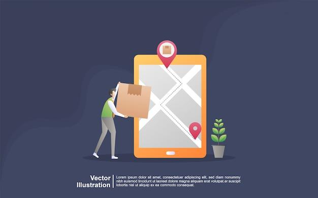 Concetto di servizio di consegna online. monitoraggio dell'ordine online