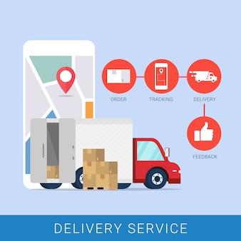 Concetto di servizio di consegna per app mobile