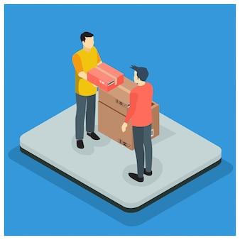Concetto di servizio di consegna veloce isometrica