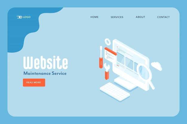Concetto di servizio di manutenzione del sito web