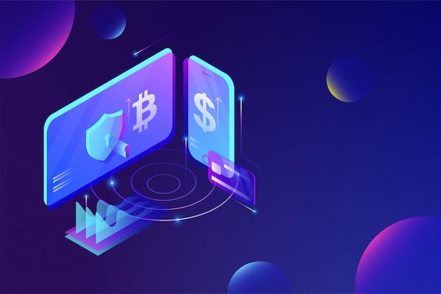 Concetto di servizio di piattaforma di scambio di cryptocurrency online.