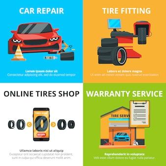 Concetto di servizio di pneumatici auto