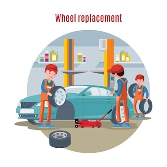 Concetto di servizio di pneumatici colorati