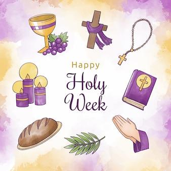 Concetto di settimana santa dell'acquerello