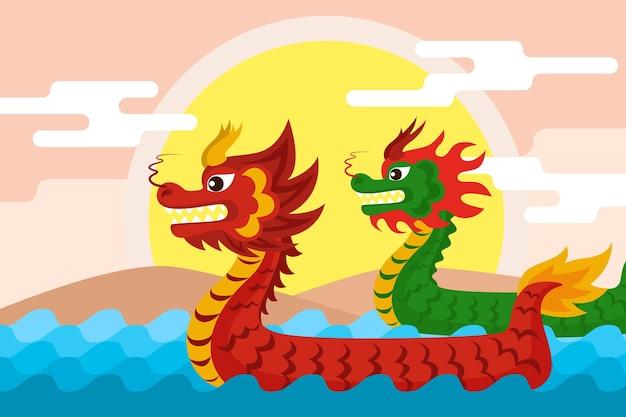 Concetto di sfondo barca drago