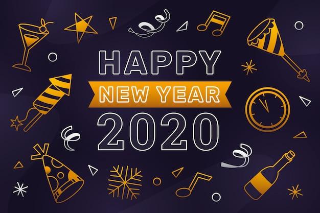 Concetto di sfondo del nuovo anno 2020 in stile contorno