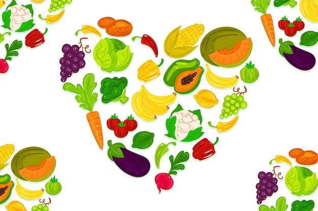 Concetto di sfondo di frutta e verdura