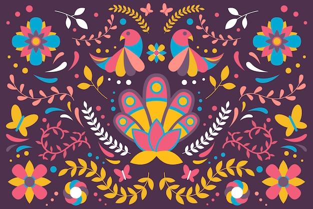 Concetto di sfondo piatto colorato messicano