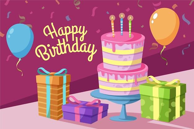 Concetto di sfondo piatto compleanno