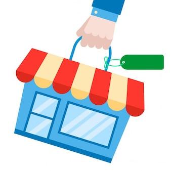 Concetto di shopping bag e acquisto casa