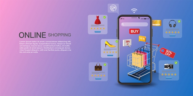 Concetto di shopping online, marketing digitale sul sito web e applicazione mobile.