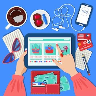 Concetto di shopping online mobile in design piatto