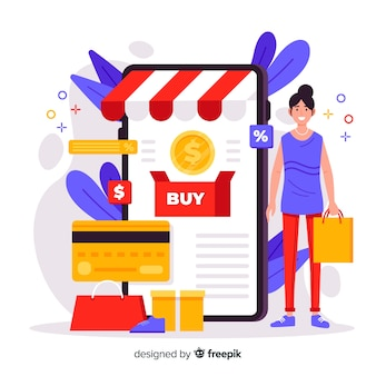 Concetto di shopping online per landing page