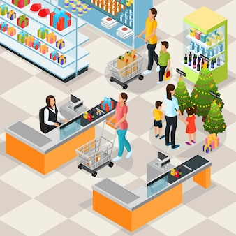 Concetto di shopping vacanza isometrica con persone che acquistano regali di natale e prodotti in supermercato