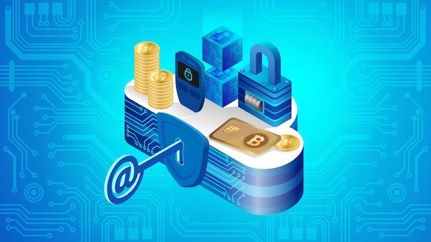 Concetto di sicurezza del sistema finanziario cloud