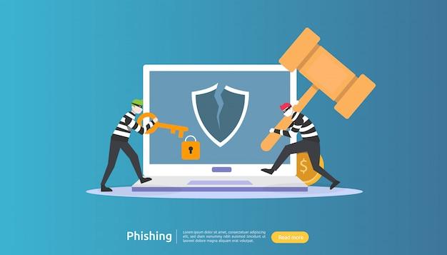 Concetto di sicurezza di internet con carattere