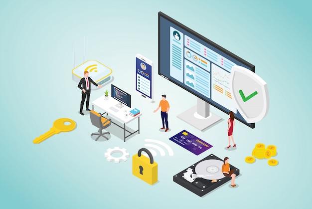 Concetto di sicurezza informatica con persone del team e programmatore di codice sicuro con stile piatto moderno e design isometrico