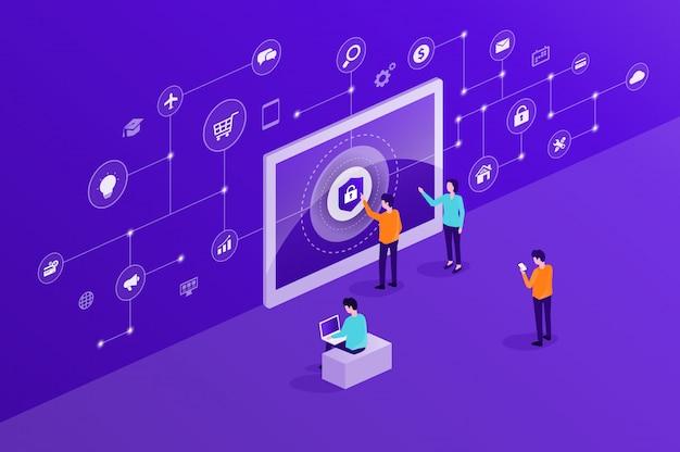 Concetto di sicurezza informatica cyber internet