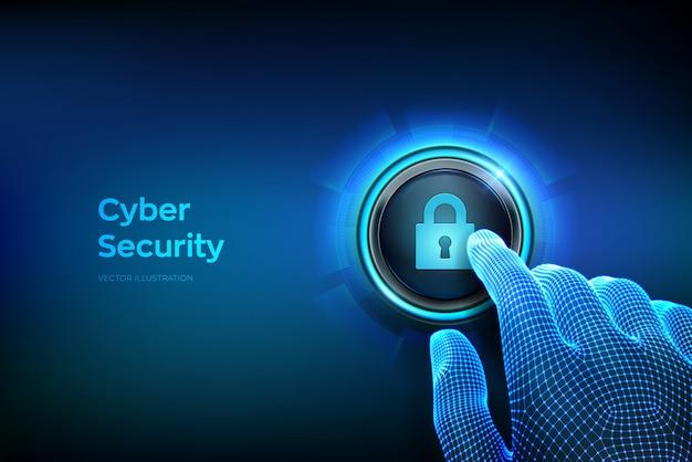 Concetto di sicurezza informatica. dito del primo piano per premere un pulsante con il simbolo di blocco.