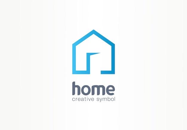Concetto di simbolo creativo casa. porta aperta, edificio entra, agenzia immobiliare logo astratto business. architettura d'interni, icona di accesso al sito web. logotipo di identità aziendale, grafica aziendale