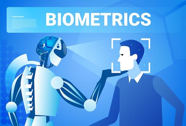 Concetto di sistema di riconoscimento di tecnologia di controllo di accesso di identificazione biometrica del fronte dell'uomo di esame del robot