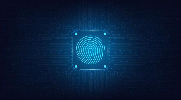 Concetto di sistema di sicurezza astratto con impronta digitale su sfondo di tecnologia.
