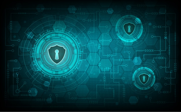 Concetto di sistema di sicurezza della tecnologia con scudo e serratura