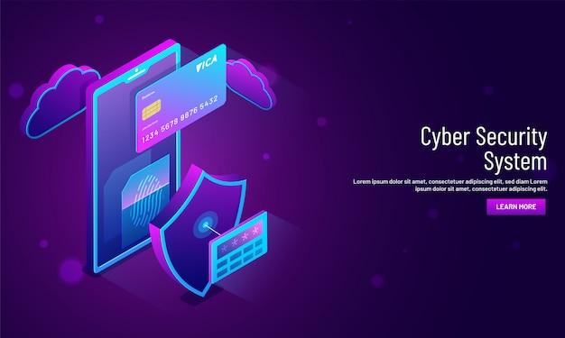 Concetto di sistema di sicurezza informatica, illustrazione isometrica.
