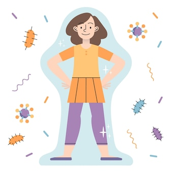 Concetto di sistema immunitario con donna