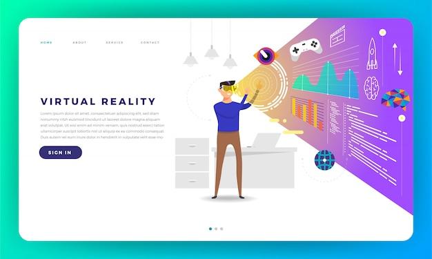 Concetto di sito web piattaforma di realtà virtuale (vr). l'uomo in piedi con gli occhiali vr riproduce i contenuti all'interno. illustrazione.