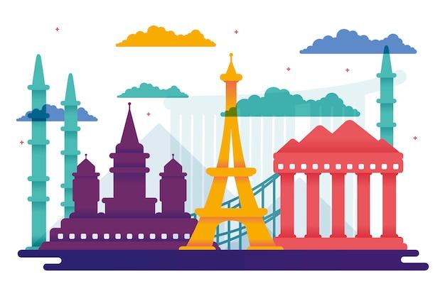 Concetto di skyline di punti di riferimento colorati