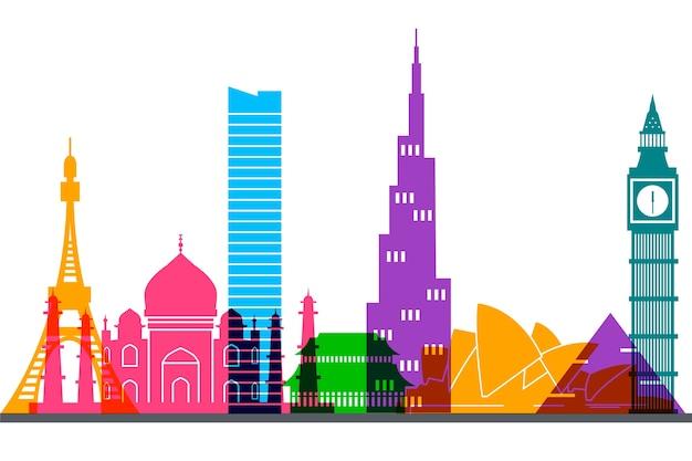 Concetto di skyline di punti di riferimento