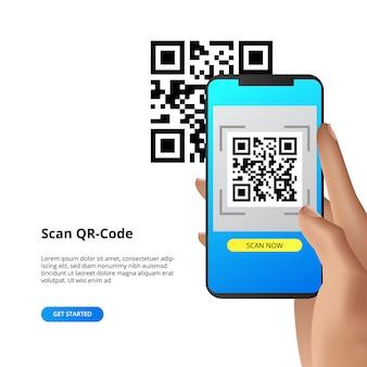 Concetto di smartphone con fotocamera a scansione di codici qr per pagamento o altro.