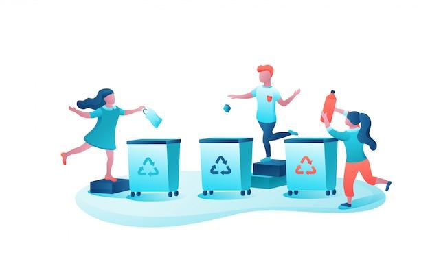 Concetto di smistamento dei rifiuti, bambini che gettano la spazzatura nel contenitore