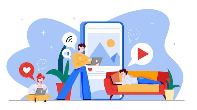 Concetto di social media. comunicazione globale, condivisione di contenuti e feedback. utilizzo di reti per la promozione aziendale. strategia di marketing. illustrazione in stile cartone animato