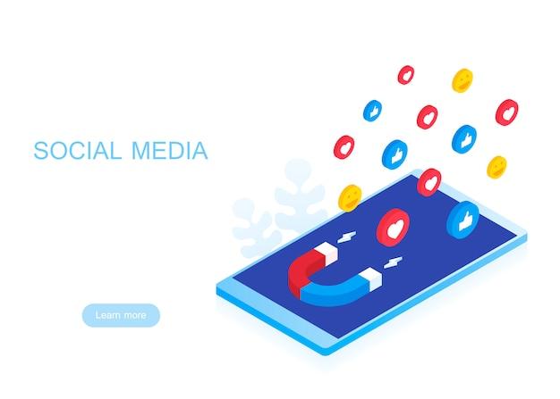 Concetto di social media con personaggi. faccina sorridente, emozione. ilustration moderno isolato su sfondo bianco